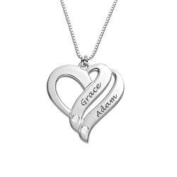 Sterling-hopeinen Kaksi sydäntä ovat aina yhtä -timanttikaulakoru product photo