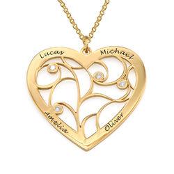 Sydämen muotoinen perhe kaulakoru elämänpuu riipus timanteilla, product photo