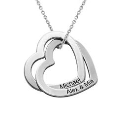 Sterling-hopeinen yhteen liittyvä sydän kaulakoru product photo