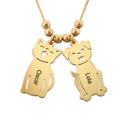 Lapsiriipus kaulakoru kaiverruksella - koira ja kissa, kullattu tuotekuva