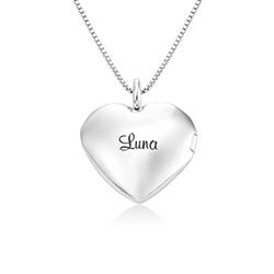 Sydänriipus-kaulakoru kaiverruksella Sterling-hopeisena tuotekuva