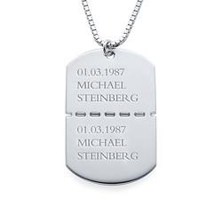 Sterling-hopeinen koiran tunnistelevy miehille tuotekuva