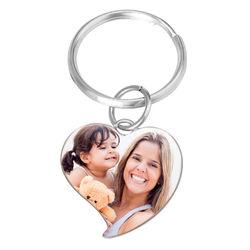 Kaiverrettu valokuva-avaimenperä omalla kuvalla - sydän product photo