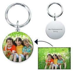 Kaiverrettu valokuva-avaimenperä omalla kuvalla – pyöreä tuotekuva