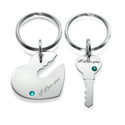 Pariskuntien sydän- ja avain avaimenperä product photo