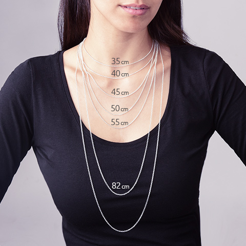 necklace chain length guide - choose the right size