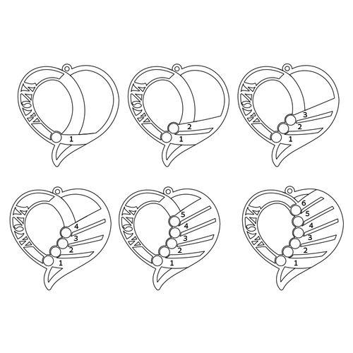 Hopeinen Äidin kaiverrettu sydänkaulakoru timanteilla - 3