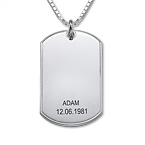 Hopeinen Dog Tag-Riipus