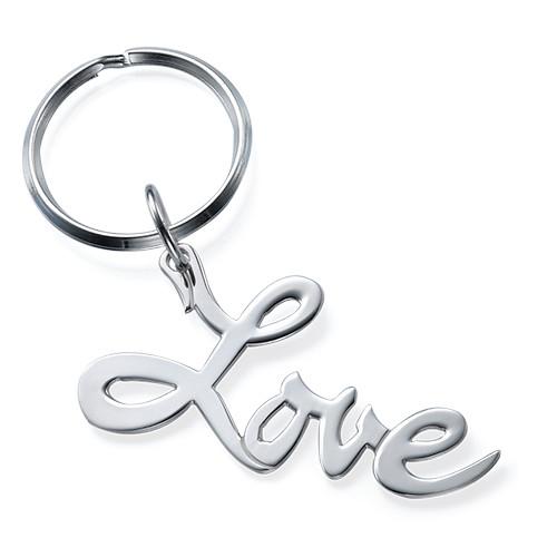 """Hopeinen """"Love"""" Avaimenperä"""