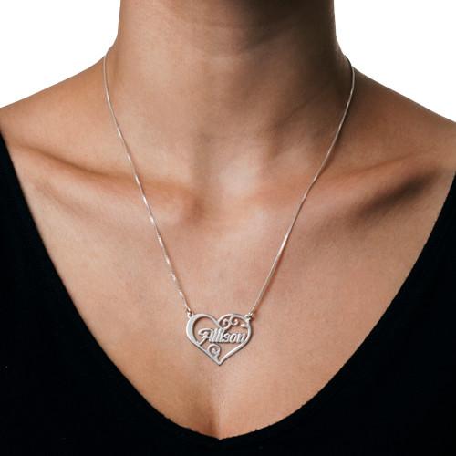 Hopeinen Nimiriipus Sydänkehyksellä - 1