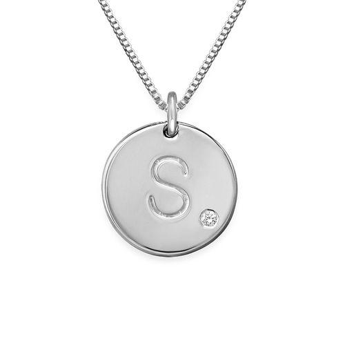 Sterling-hopeinen kirjaintimanttikaulakoru