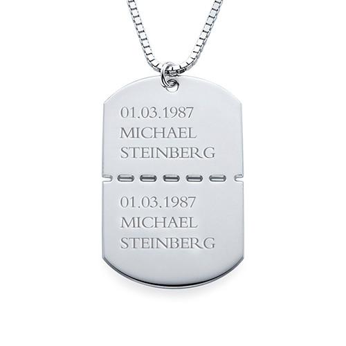 Sterling-hopeinen koiran tunnistelevy miehille - 1