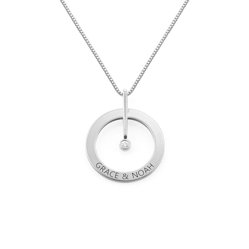 Personalized Circle Necklace with Diamond in Sterling Silver
