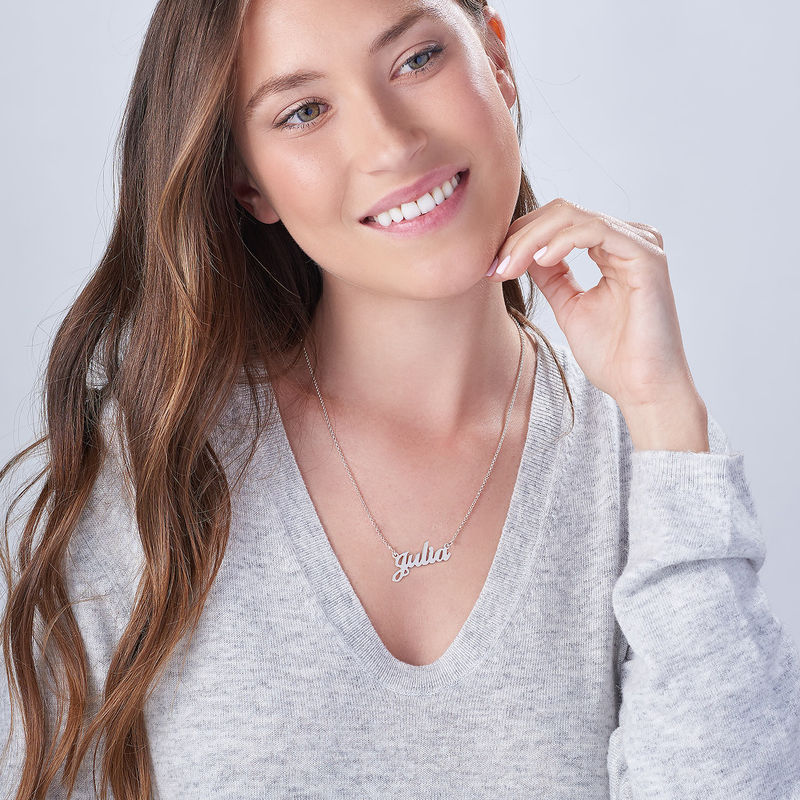 Personalised Classic Name Necklace in Silver - 4