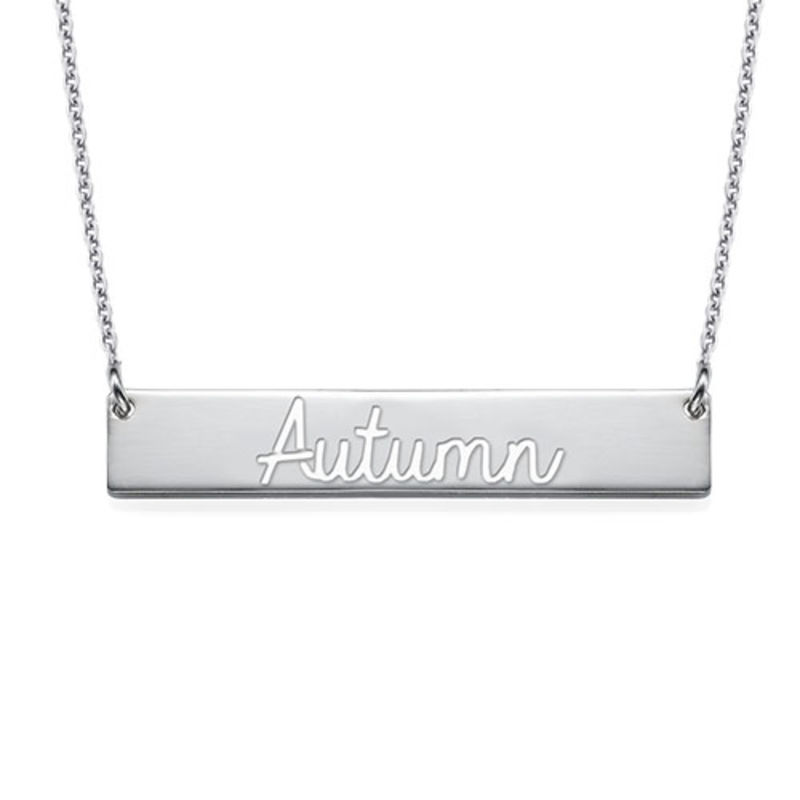 Cut Out Name Bar Necklace