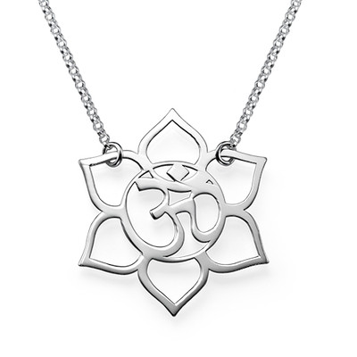 Lotus Flower Necklace with Om Symbol