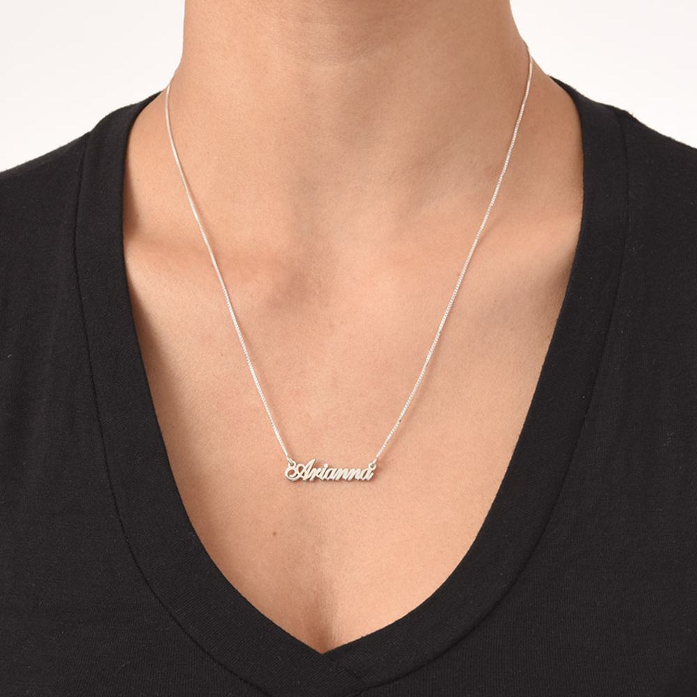 Tiny Classic Name Necklace In Extra Strength Silver - 1