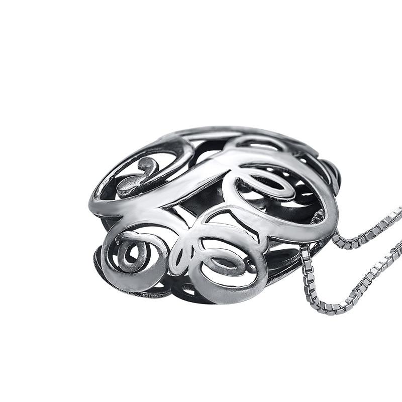 3D Silver Monogram Necklace - 1