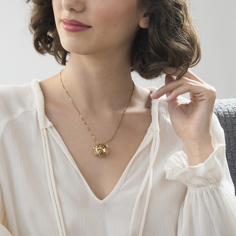 3D Gold Plated Monogram Necklace - 2