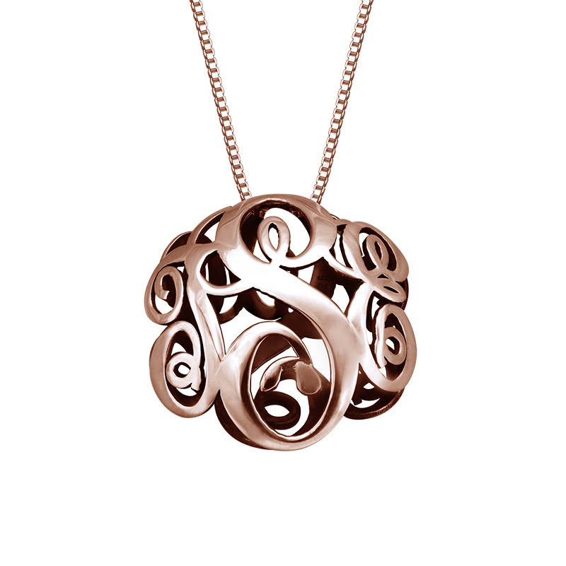 3D Monogram Necklace with Rose Gold Plating