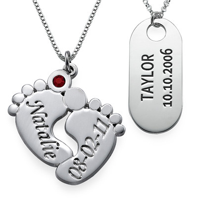 Baby Feet Necklace & ID Tag Set