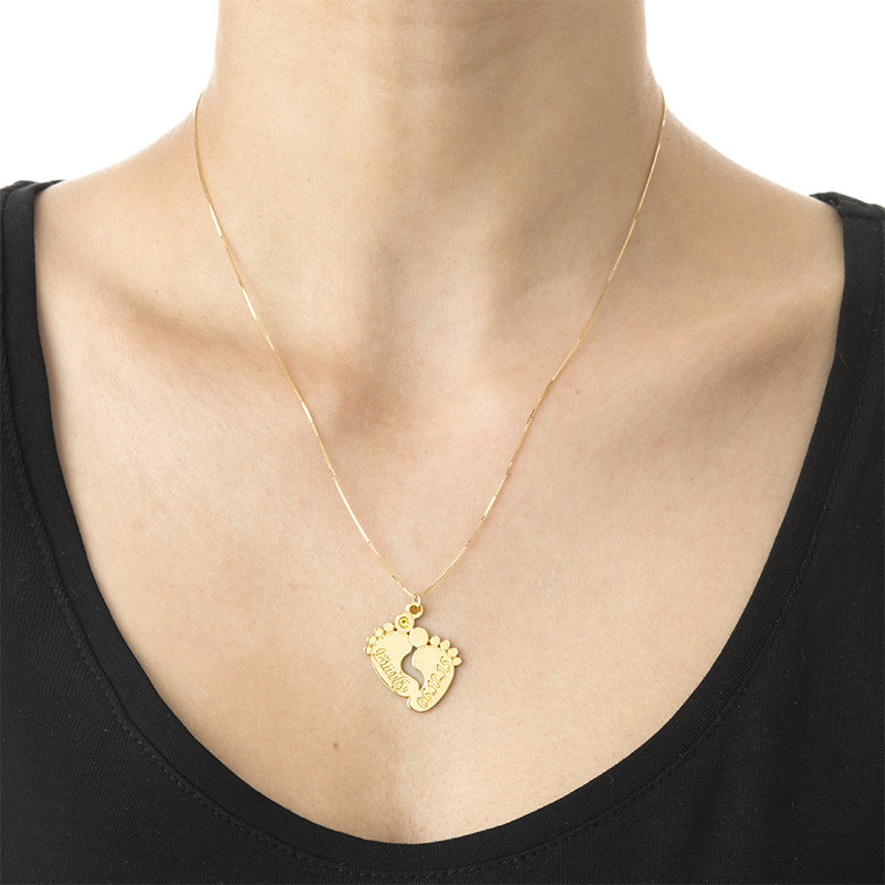 Personalised Baby Feet Necklace in 14ct Gold - 1