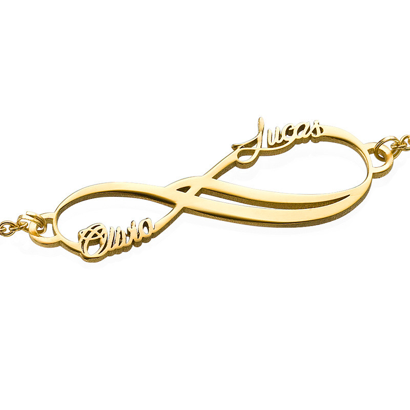 14ct Solid Gold Infinity 2 Names Bracelet - 1