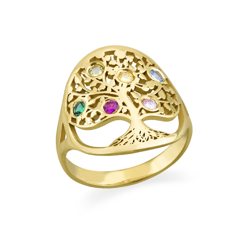 Family Tree Jewellery - Birthstone Ring with Gold Plating - 1