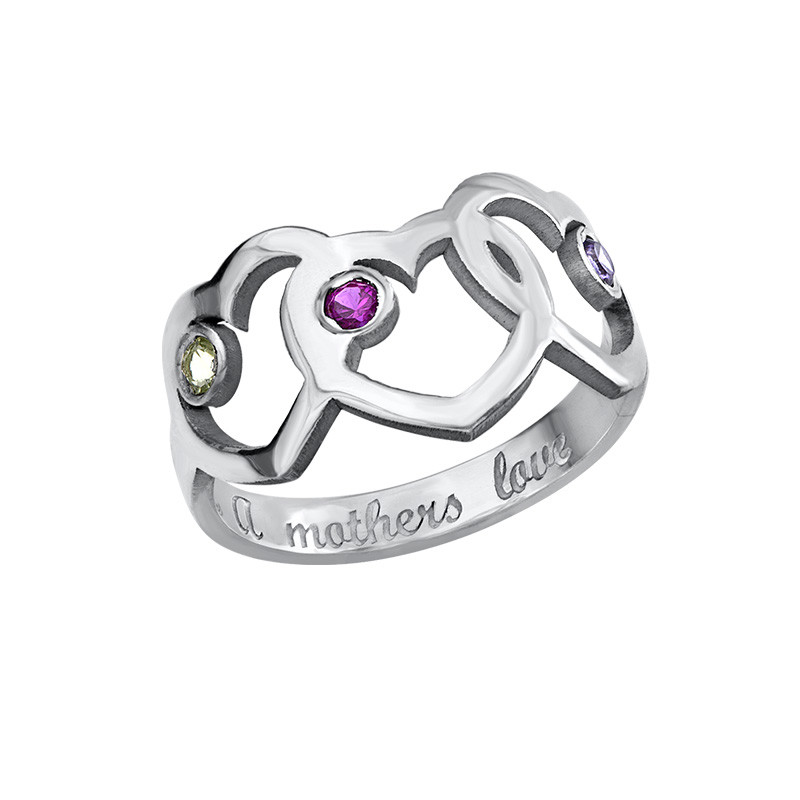 Heart Mother's Ring with Birthstones - 2