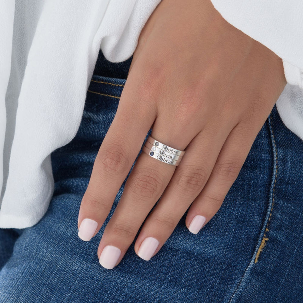Stackable Birthstone Name Ring - 6