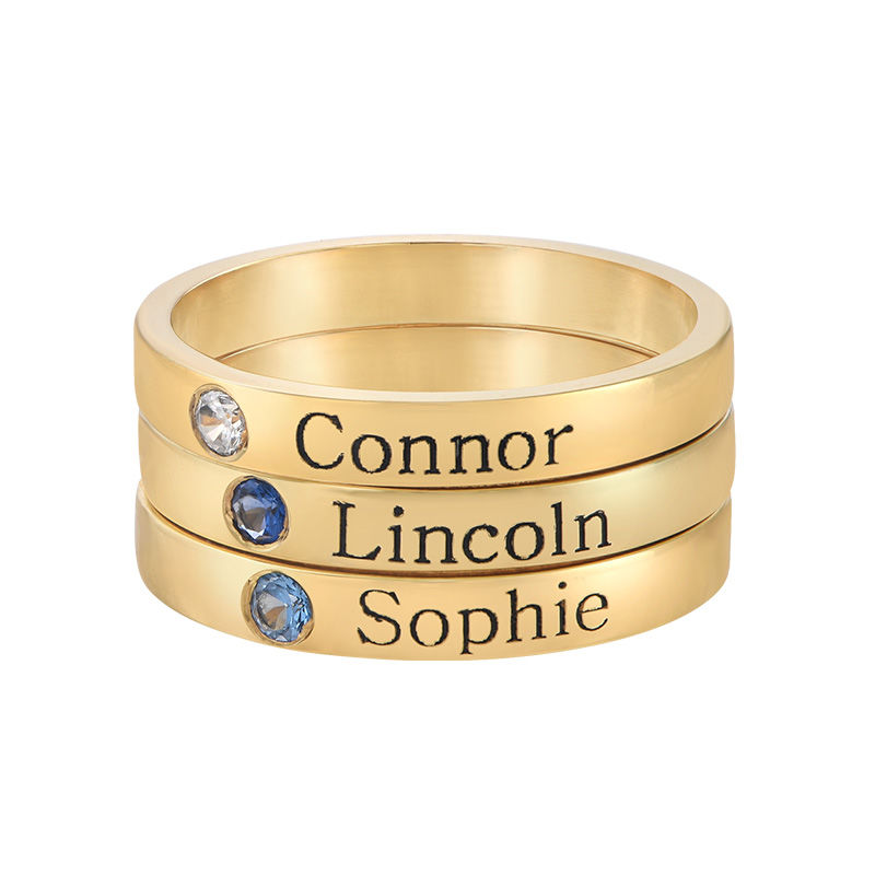 Stackable Birthstone Name Ring - 14ct Yellow Gold - 2