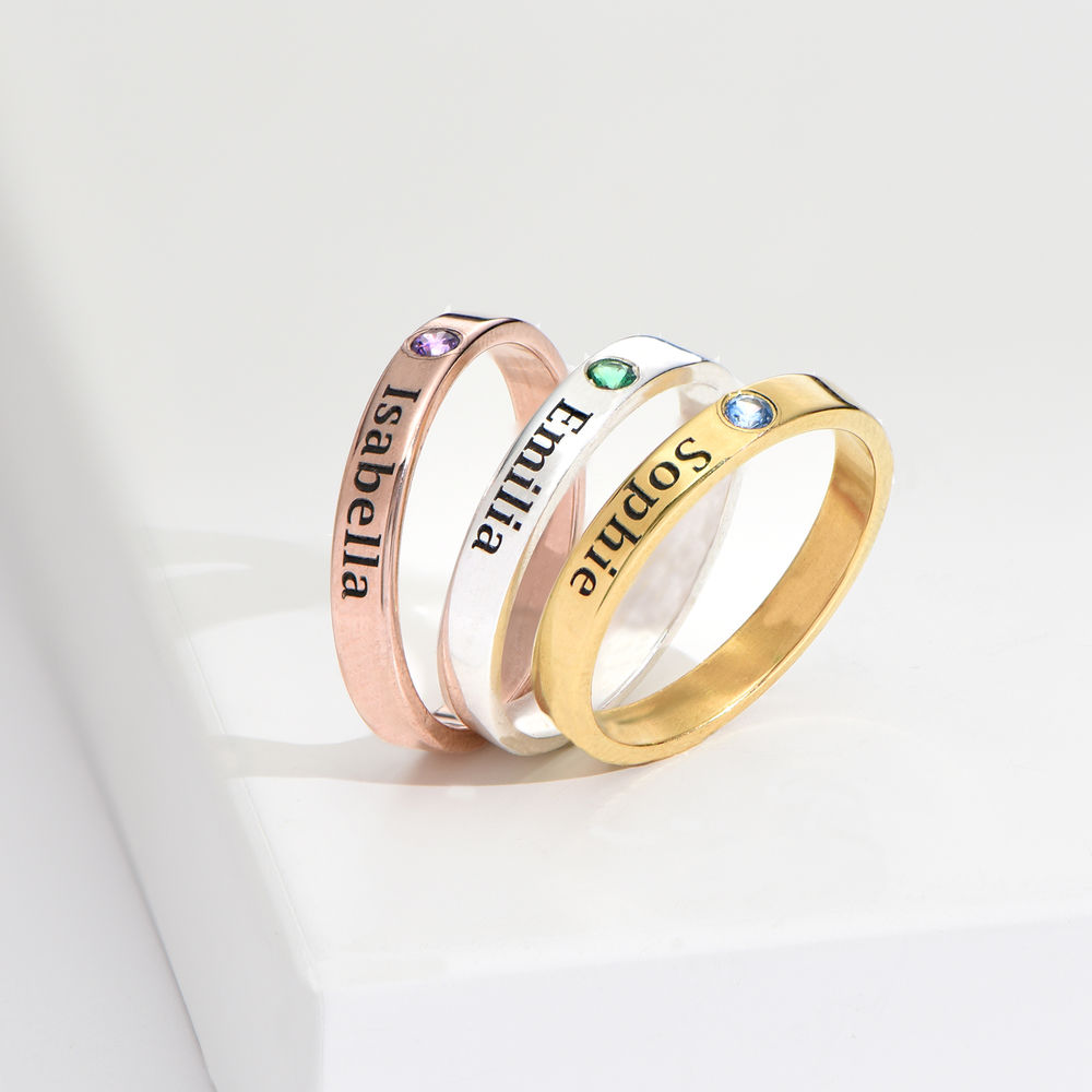 Stackable Birthstone Name Ring - 18ct Rose Gold Plated - 4