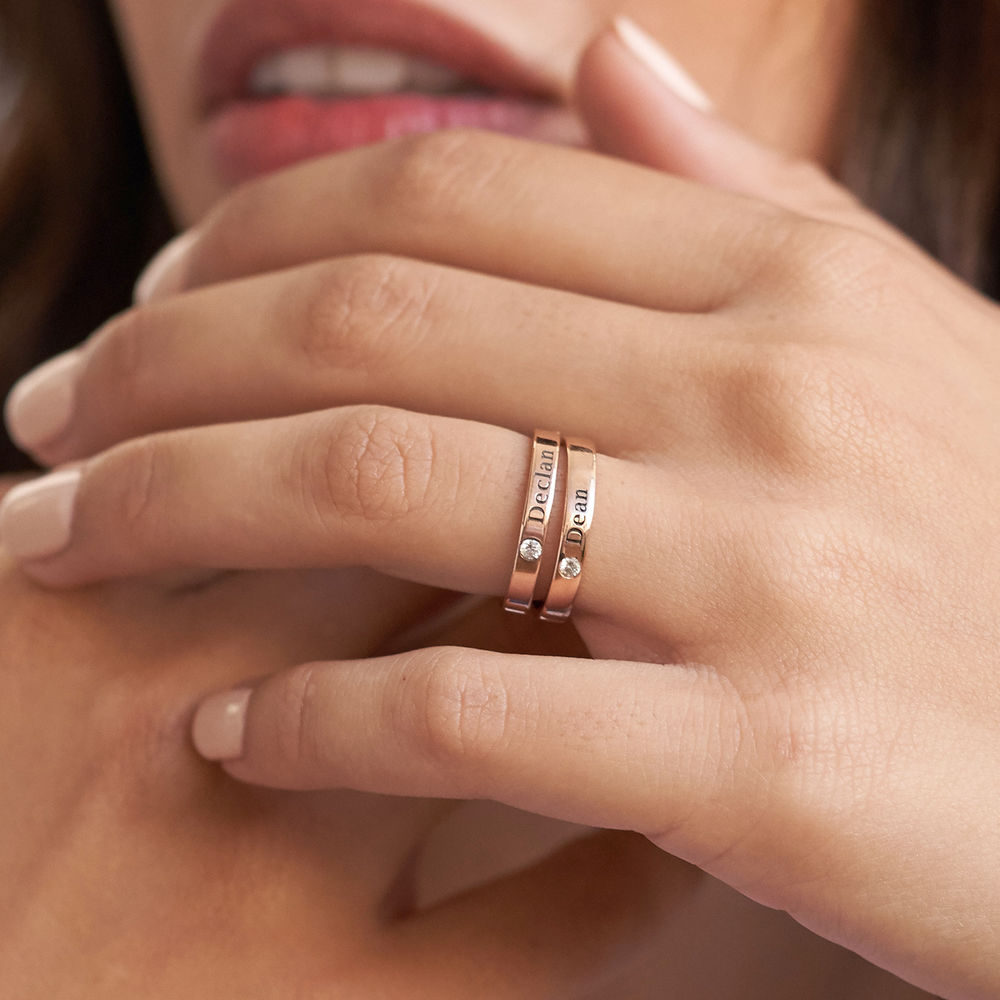 Stackable Birthstone Name Ring - 18ct Rose Gold Plated - 5