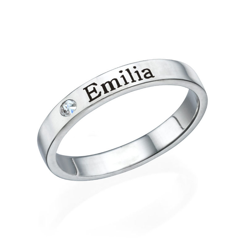 Stackable Name Ring in Silver with Diamond