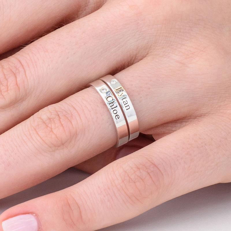 Stackable Name Ring in Silver with Diamond  - 3