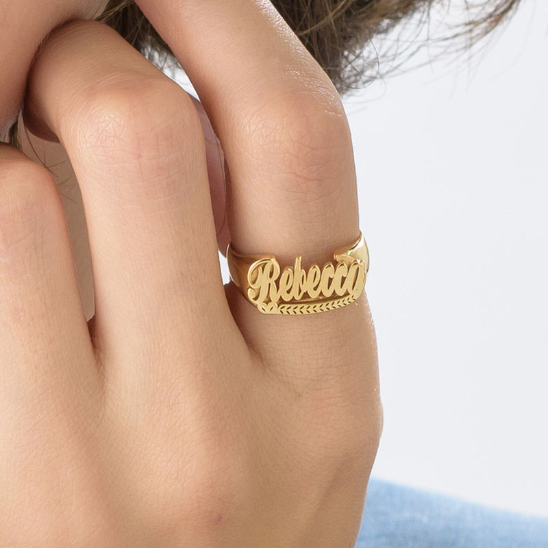 Gold Plated Sterling Silver Name Ring - 3