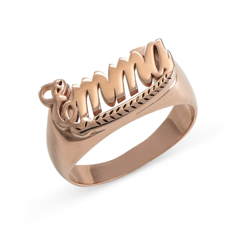 Rose Gold Plated Sterling Silver Name Ring