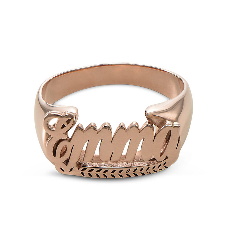 Rose Gold Plated Sterling Silver Name Ring - 1