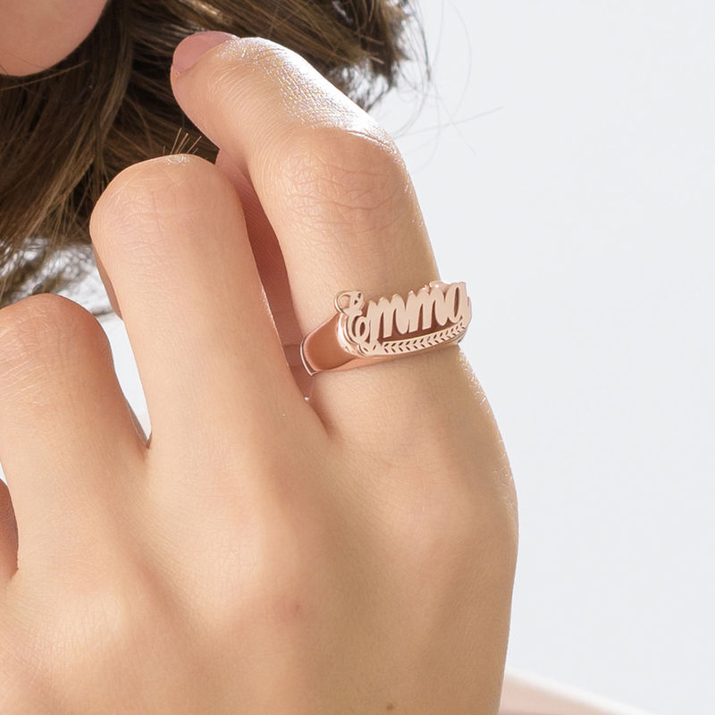 Rose Gold Plated Sterling Silver Name Ring - 3