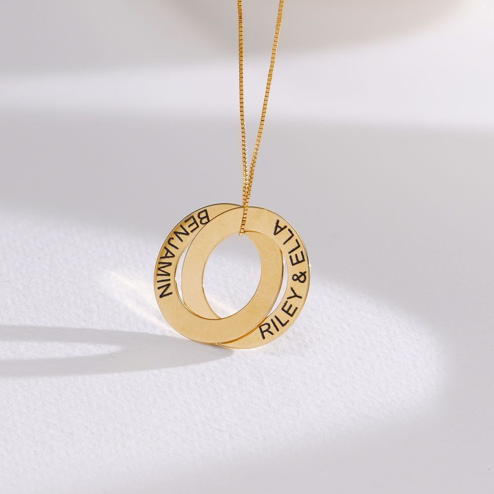 Russian Ring Necklace with 2 Rings in 10ct Yellow Gold - 1