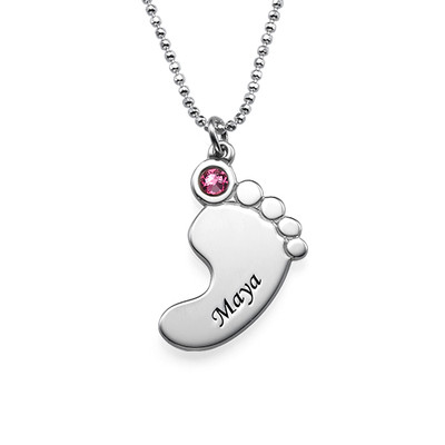 Mother and Daughter Baby Feet Necklace