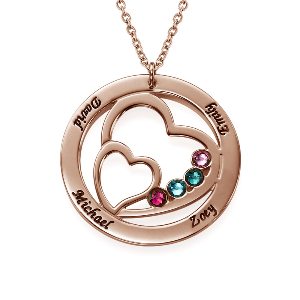 Heart in Heart Birthstone Necklace for Mums  - Rose Gold Plating