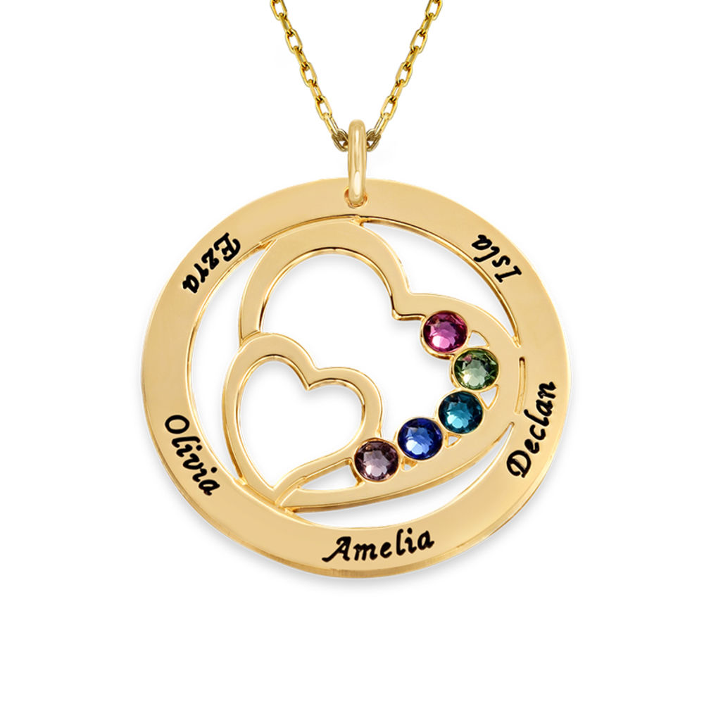 Heart in Heart Birthstone Necklace - 10ct Yellow Gold