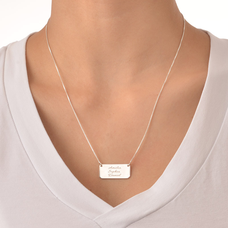 Engraved Bar Necklace in Silver with Three Names - 1