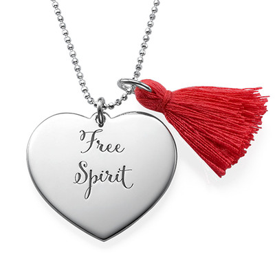 Tassel Necklace with Engraved Heart Pendant in Silver