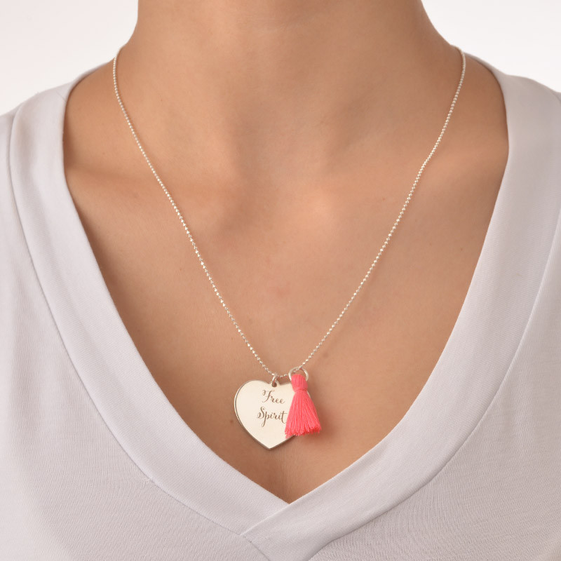 Tassel Necklace with Engraved Heart Pendant in Silver - 2