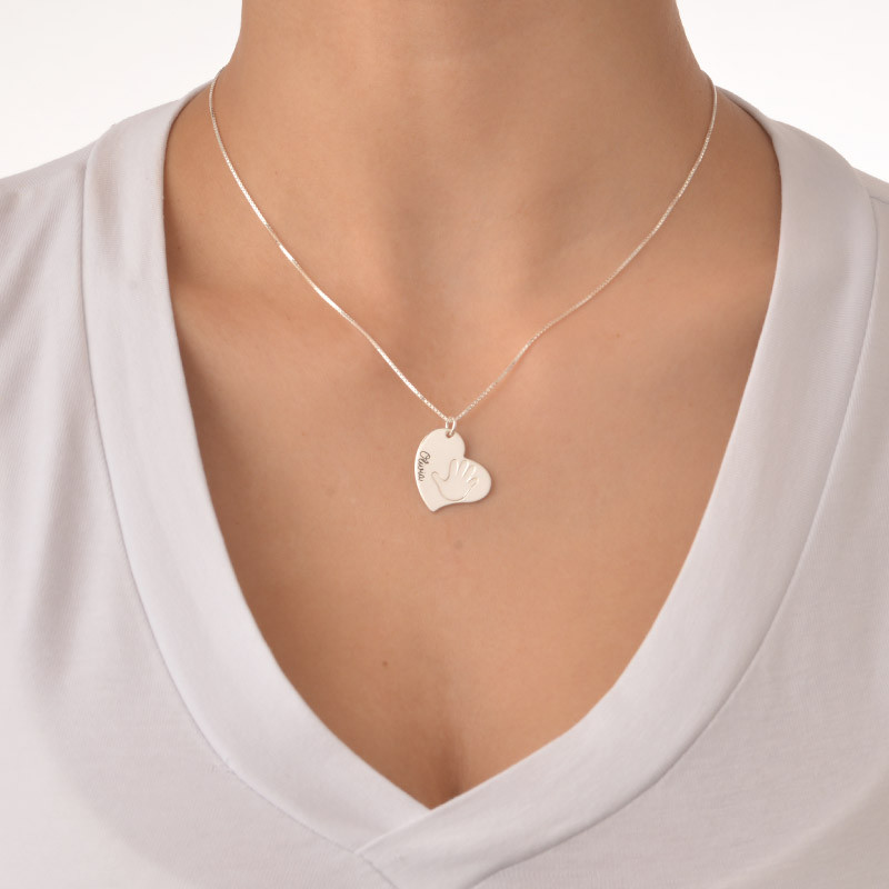 Handprint Necklace - Heart Shaped - 1