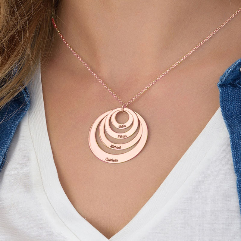 Four Open Circles Necklace with Engraving in Rose Gold Plating - 4