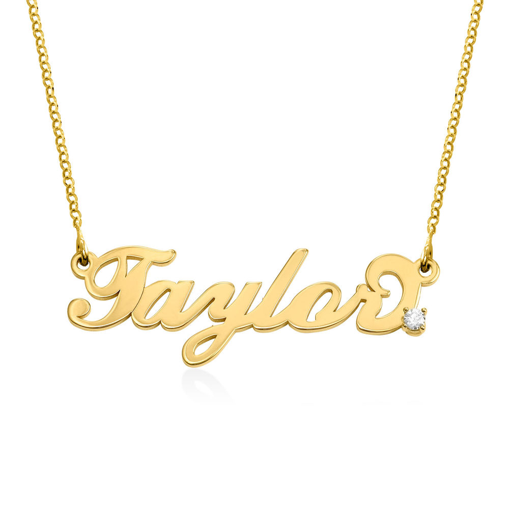 Small Vermeil Carrie Name Necklace with Diamond