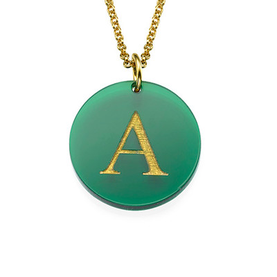 Acrylic Initial Disc Necklace